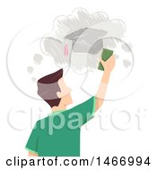 Clipart Of A Rear View Of A Teenage Guy Erasing A Drawing Of A Graduation Cap Royalty Free Vector Illustration by BNP Design Studio