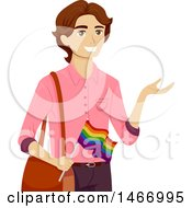 Clipart Of A Teenage Guy Holding A Rainbow LGBTQ Pride Flag Royalty Free Vector Illustration by BNP Design Studio