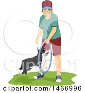 Clipart Of A Teenage Guy Training His Dog To Jump Through A Hoop Royalty Free Vector Illustration by BNP Design Studio