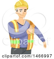 Clipart Of A Teen Guy Putting On A Construction Worker Vet Royalty Free Vector Illustration