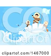 Clipart Of A Group Of Boys Fishing And Riding An Iceburg Royalty Free Vector Illustration