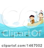 Clipart Of Native American Boys Fishing In A Canoe Royalty Free Vector Illustration by BNP Design Studio