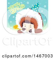 Clipart Of A Boy Eskimo Under Happy Birthday Text Royalty Free Vector Illustration