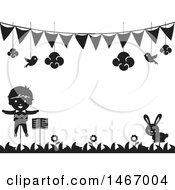 Clipart Of A Black And White Stick Puppet And Rabbit Under A Banner Royalty Free Vector Illustration by BNP Design Studio