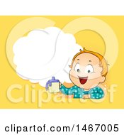 Clipart Of A Toddler Boy Holding A Sippy Cup Under A Thought Cloud On Yellow Royalty Free Vector Illustration