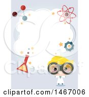 Clipart Of A Scientist Boy With A Cloud And Laboratory Icons Royalty Free Vector Illustration