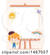 Boy Artist By A Canvas With A Sun Bird And Rainbow