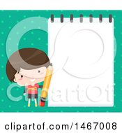 Boy Holding A Pencil By A Notepad Over Dots