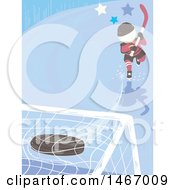Clipart Of A Boy Hitting An Ice Hockey Puck Into A Goal Royalty Free Vector Illustration by BNP Design Studio