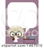 Clipart Of A Mad Scientist Boy Talking By A Desk Royalty Free Vector Illustration