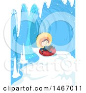 Clipart Of A Boy Snow Tubing Down An Ice Cave Royalty Free Vector Illustration