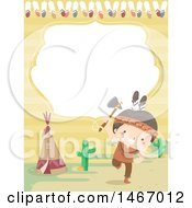 Clipart Of A Border Invitation With A Native American Boy Dancing Royalty Free Vector Illustration