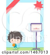 Clipart Of A Boy Playing Basketball With A Border And Text Space Royalty Free Vector Illustration by BNP Design Studio