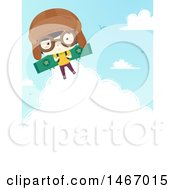 Flying Aviator Boy With Cloud Text Space