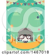 Clipart Of A Cute Aviator Boy Invitation Royalty Free Vector Illustration