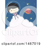 Clipart Of A Happy Astronaut Boy Flying With A Jetpack And Cloud Text Space Royalty Free Vector Illustration