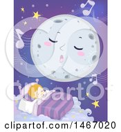 Clipart Of A Full Moon Singing A Lullaby Over A Sleeping Boy Royalty Free Vector Illustration