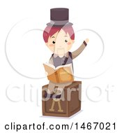 Clipart Of A Wooden Puppet Reading A Story Book Royalty Free Vector Illustration by BNP Design Studio