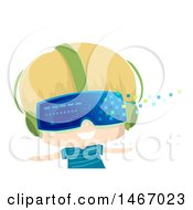 Clipart Of A Blond Boy Wearing Virtual Reality Glasses With Pixels Floating Away Royalty Free Vector Illustration