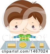 Clipart Of A Brunette Boy Learning Geometric Shapes With Sandwiches Royalty Free Vector Illustration by BNP Design Studio