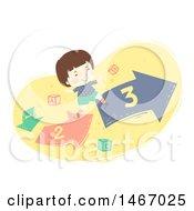 Poster, Art Print Of Brunette Boy Running On A Number Arrow Path