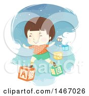 Clipart Of A Brunette Boy On Alphabet Blocks Royalty Free Vector Illustration