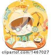 Clipart Of A Boy Wearing A Steampunk Outfit And Experimenting Royalty Free Vector Illustration