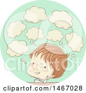 Clipart Of A Sketched Boy With Thought Bubbles Royalty Free Vector Illustration