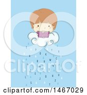 Clipart Of A Sketched Boy Reading A Book On A Rain Cloud With Letters Royalty Free Vector Illustration