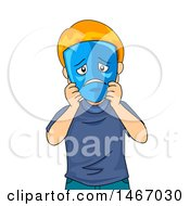 Clipart Of A Red Haired Boy Holding A Sad Mask Over His Face Royalty Free Vector Illustration by BNP Design Studio