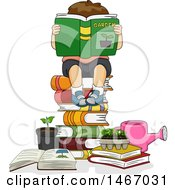 Clipart Of A Brunette Boy Reading A Garden Book On A Stack Of Books Royalty Free Vector Illustration