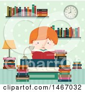 Red Haired Boy Reading A Book In A Library