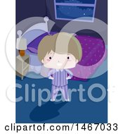 Clipart Of A Boy In Pajamas Standing In A Dark Bedroom Royalty Free Vector Illustration
