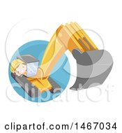Clipart Of A Construction Boy Operating An Excavator Machine Royalty Free Vector Illustration