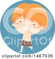 Clipart Of A Red Haired Boy Running Through Rain Royalty Free Vector Illustration by BNP Design Studio