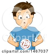 Clipart Of A Brunette Boy With Intestinal Worms Royalty Free Vector Illustration