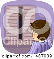 Clipart Of A Brunette Boy Looking At A Monster In His Closet Royalty Free Vector Illustration