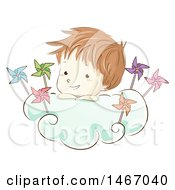 Clipart Of A Sketched Boy In A Cloud With Pinwheels Royalty Free Vector Illustration
