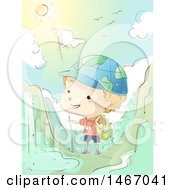 Clipart Of A Sketched Boy Wearing A Globe Hat Hiking In The Mountains Royalty Free Vector Illustration by BNP Design Studio