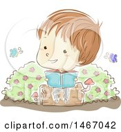 Clipart Of A Sketched Boy Sitting On A Log And Reading A Book With Butterflies Royalty Free Vector Illustration