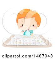 Poster, Art Print Of Red Haired Boy Using A Bubble Wand To Paint Artwork