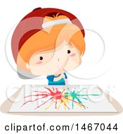 Clipart Of A Red Haired Boy Using A Straw To Paint On Paper Royalty Free Vector Illustration by BNP Design Studio