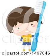 Clipart Of A Boy Holding A Giant Toothbrush Royalty Free Vector Illustration
