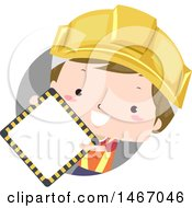 Boy Wearing A Construction Hardhat And Holding A Blank Sign