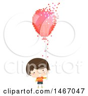 Clipart Of A Brunette Boy Holding A Pixelated Balloon Royalty Free Vector Illustration