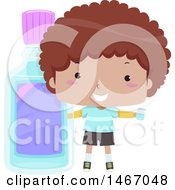Clipart Of A Boy Holding A Cup Next To A Giant Bottle Of Mouthwash Royalty Free Vector Illustration