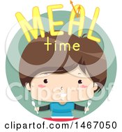 Clipart Of A Boy With Meal Time Text In A Circle Royalty Free Vector Illustration