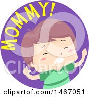 Clipart Of A Boy With Mommy Text In A Circle Royalty Free Vector Illustration