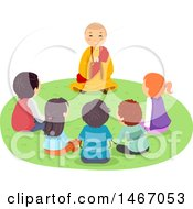 Clipart Of A Group Of Teenagers Gathered Around A Monk Royalty Free Vector Illustration