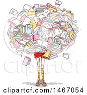 Clipart Of A Sketched Girl Carrying A Giant Cluster Of Books Royalty Free Vector Illustration